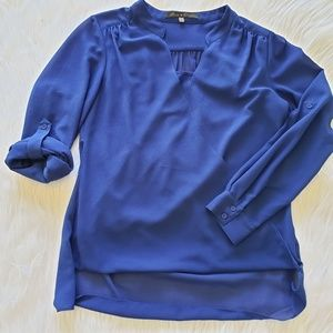 Rose & Olive Royal Blue Layered Blouse S